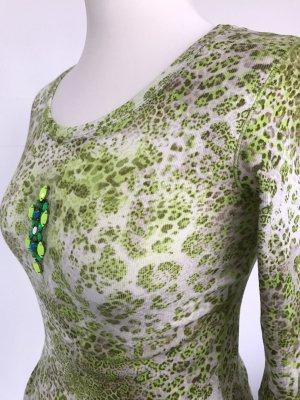 Shirt Marc Cains Sports im Rippdesign mit Animalprint und Schmuck-Element