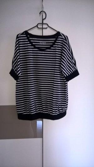 Woman by Tchibo Stripe Shirt white-dark blue mixture fibre
