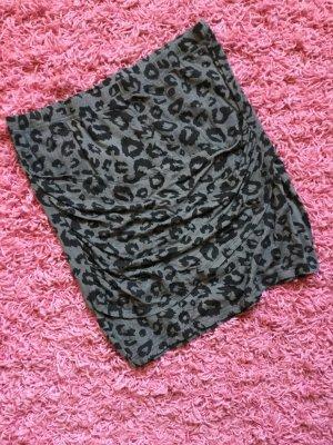 Shirt-Minirock, Animalprint, grau/schwarz mit Drapierung
