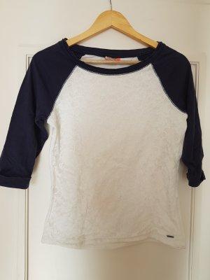 Only Gehaakt shirt wit-donkerblauw Katoen