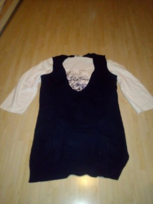 Shirt mit 3/4 àrmel und Pullunder in dunkelblau