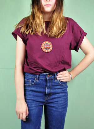 Shirt mit Aufnäher / Patch Pilz Psychedelic