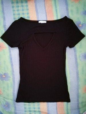 Shirt mit Ausschnitt in schwarz
