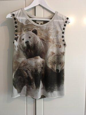 Shirt mit Bären-Print und Nieten