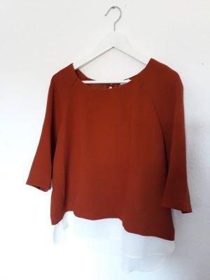 Pimkie Empiècement de blouses orange foncé-blanc