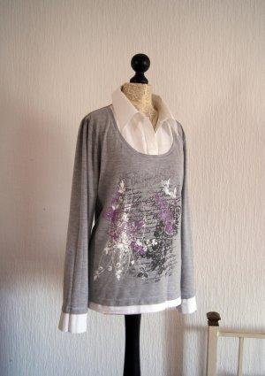 Shirt mit Blusenkragen, Größe 46