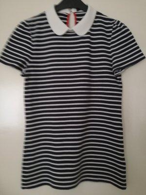 Hallhuber T-shirt rayé bleu-blanc coton