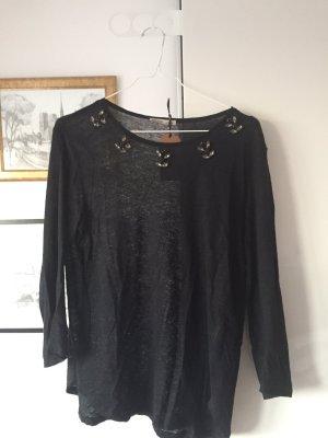 Shirt mit Dekosteinen von Zara | schwarz