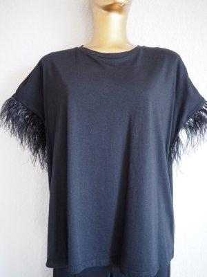 Zara Oversized shirt zwart Gemengd weefsel