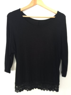 Camisa de ganchillo negro Algodón
