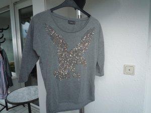 Shirt mit Glitzerprint, Gr. S/M, grau