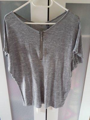 Shirt mit Glitzerreißverschluss und Fledermausärmeln