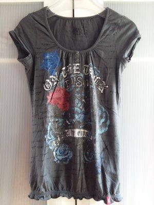 Shirt mit Gummizug und kleiner Knopfleiste mit Frontprint Gr. XS