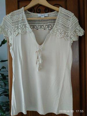 Linea Tesini Top en maille crochet crème-beige clair