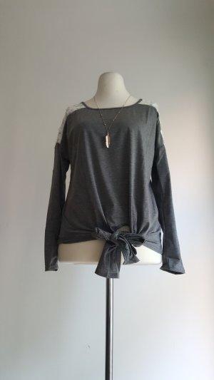 Camisa de ganchillo blanco-gris Poliéster