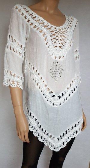 Colloseum Top en maille crochet blanc
