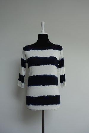 René Lezard Camisa de cuello barco blanco-azul oscuro