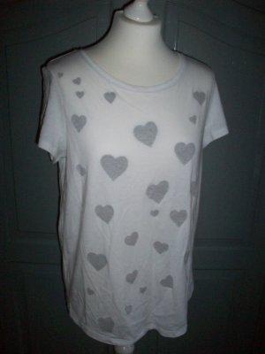 Shirt mit Herzen von Esprit Gr.L weiss