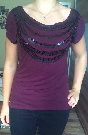 Shirt mit kurzen Ärmeln und Paillettenkette in 38