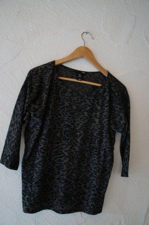 Shirt mit Leopardenmuster schwarz grau H&M Größe XS
