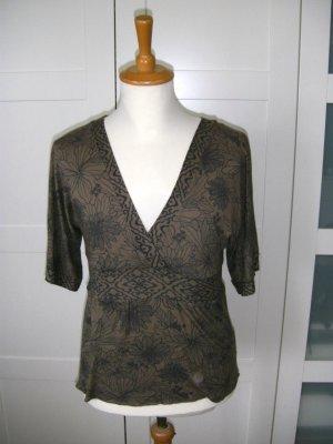 Shirt mit Muster, kurzarm, khaki/dunkelblau, Laura Scott, Gr. 34