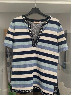 Shirt mit Mustermix (Streifen/Ornamente) und raffinierter Bestickung  von Tory Burch