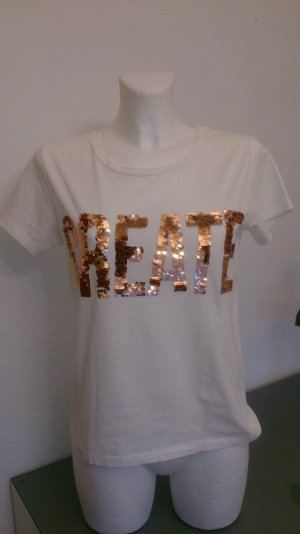 Vila Camiseta blanco-color bronce