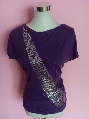 Shirt mit Pailetten in braunviolett (K3)