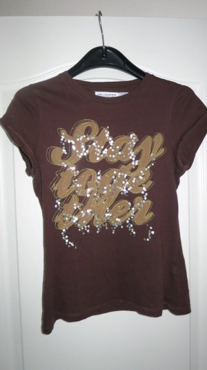 Shirt mit Pailletten / Glitzer braun von Zara