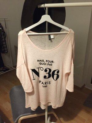 Shirt mit Paris-Print in rosa Größe M