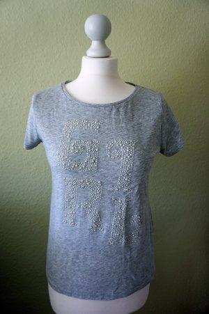Shirt mit Perlen in Grau von H&M in Gr. 36 / S