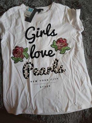 shirt mit Perlen und Blumen