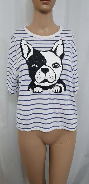shirt mit print hund weiß blau gestreift