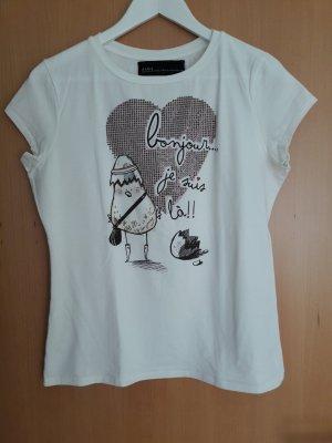 Shirt mit Print und Steinchen