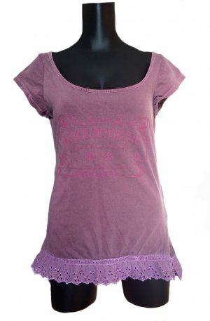 Zara Trafaluc Print Shirt grey violet cotton