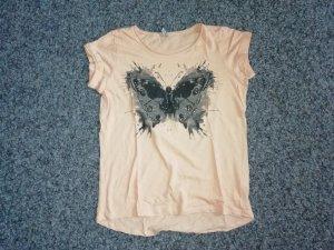 Shirt mit Schmetterling aprikot/sch