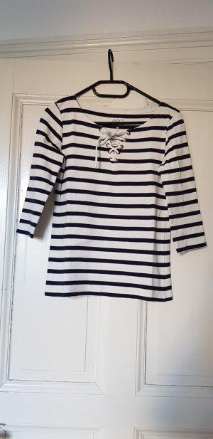 Aygill's T-Shirt white-dark blue cotton