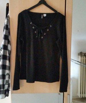 Shirt mit Schnürung Gr. L schwarz H&M