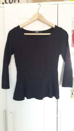 Shirt mit Schößchen in Größe S schwarz von Bikbok