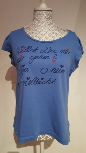 Shirt mit Schriftzug Gr L blau Herzchen