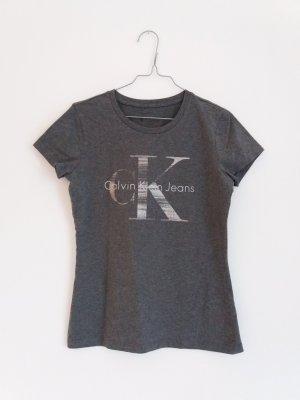Shirt mit Silberprint von Calvin Klein Gr. S