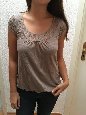 Shirt mit Spitze in dunklem beige ocker von Promod in Gr. 34 (eher 36)