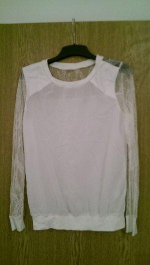 Shirt mit Spitze in weiß