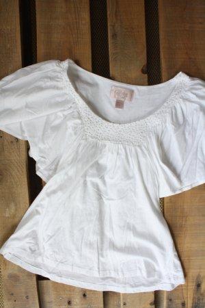 Shirt mit Spitzenapplikation und Fledermausärmeln
