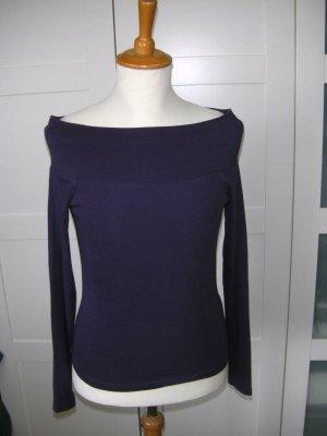 Shirt mit U-Boot-Ausschnitt, Langarmshirt, lila, Blind Date, Gr. 34/36