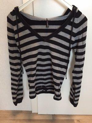 T-shirt col en V noir-gris