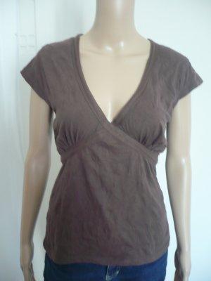 Shirt mit V- Ausschnitt in Crinkle-Knitter-Optik