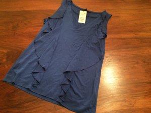 Shirt mit Volants Royalblau Seidig NEU