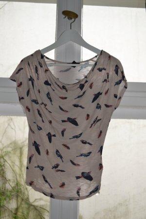 Shirt mit Wasserfallausschnitt und Vogelprint