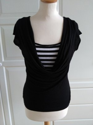 H&M Cowl-Neck Shirt black-white